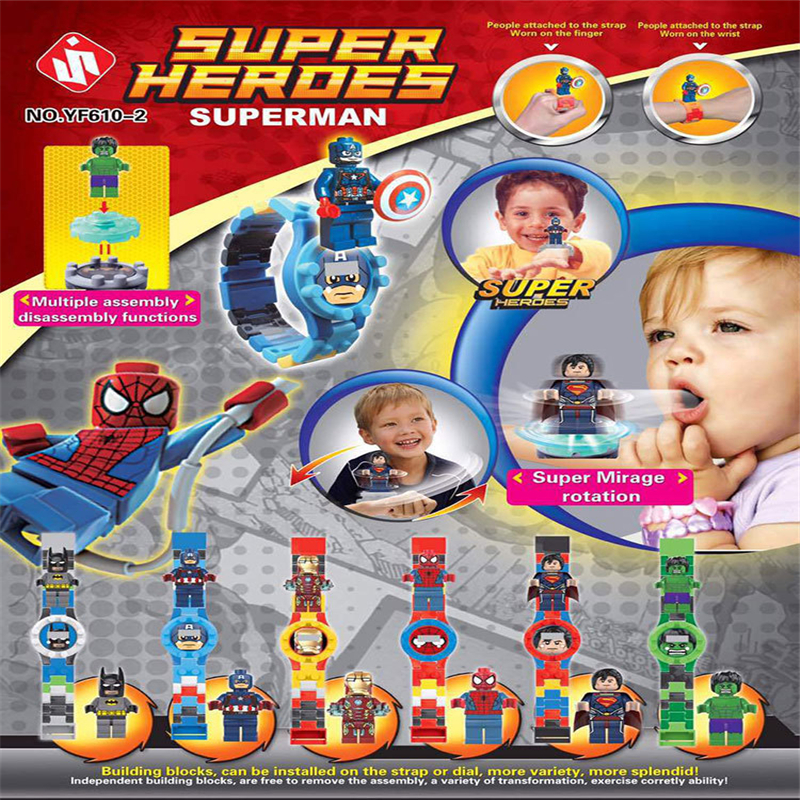 6PCs SUPER HEROES BATMAN Building Blocks toys LEGOES SUPERMAN SPIDER IRON MAN CAPTAIN tamagochi HULK figures watch for kid GIFT