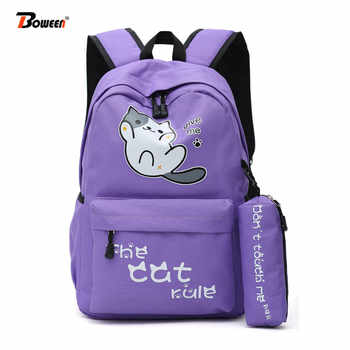 School Bags for Teenage Girls Cute Cat Backpack Schoolbag Women high Student School Bag bagpack big Solid Nylon Bookbag Teen - DISCOUNT ITEM  42% OFF All Category