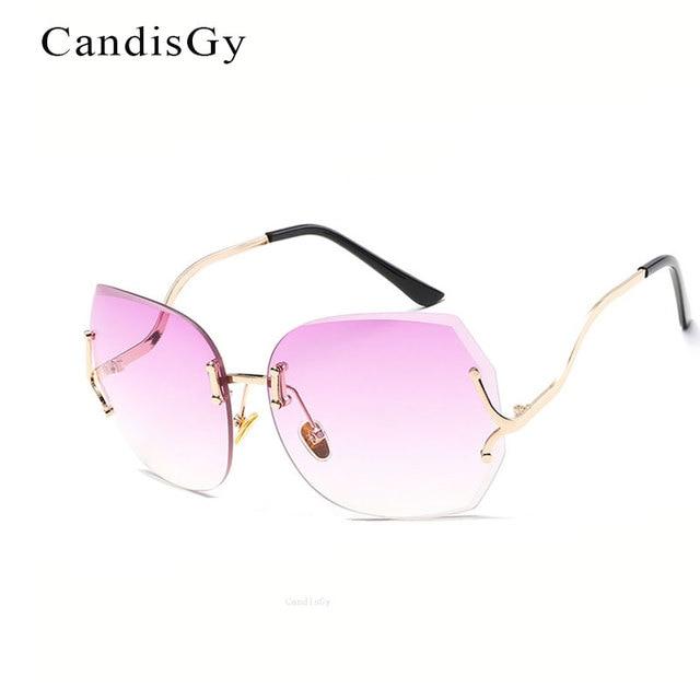 Rimless Gradient Classic Eyeglasses Sunglasses Optics Metal Frame Women Men UV400 Vintage Sun Glasses Frame Retro Oversized PFrY0Uhp