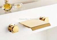 Free Shipping Modern Waterfall Bathroom Basin Faucet Golden Finish Sink Mixer Tap Dual Handles