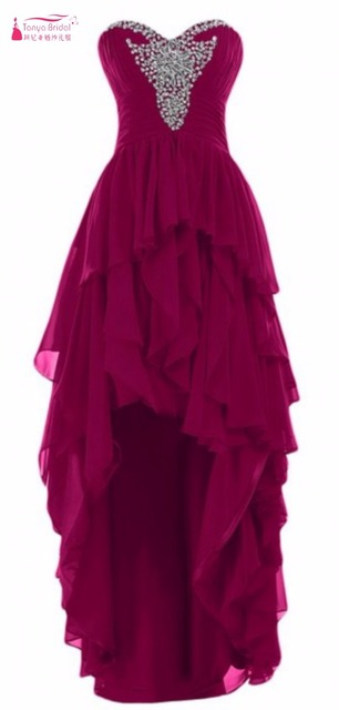 Hi-lo Homecoming Dresses Short Front Long Back Chiffon Crystal 2016 Homecoming Dress Party Gown