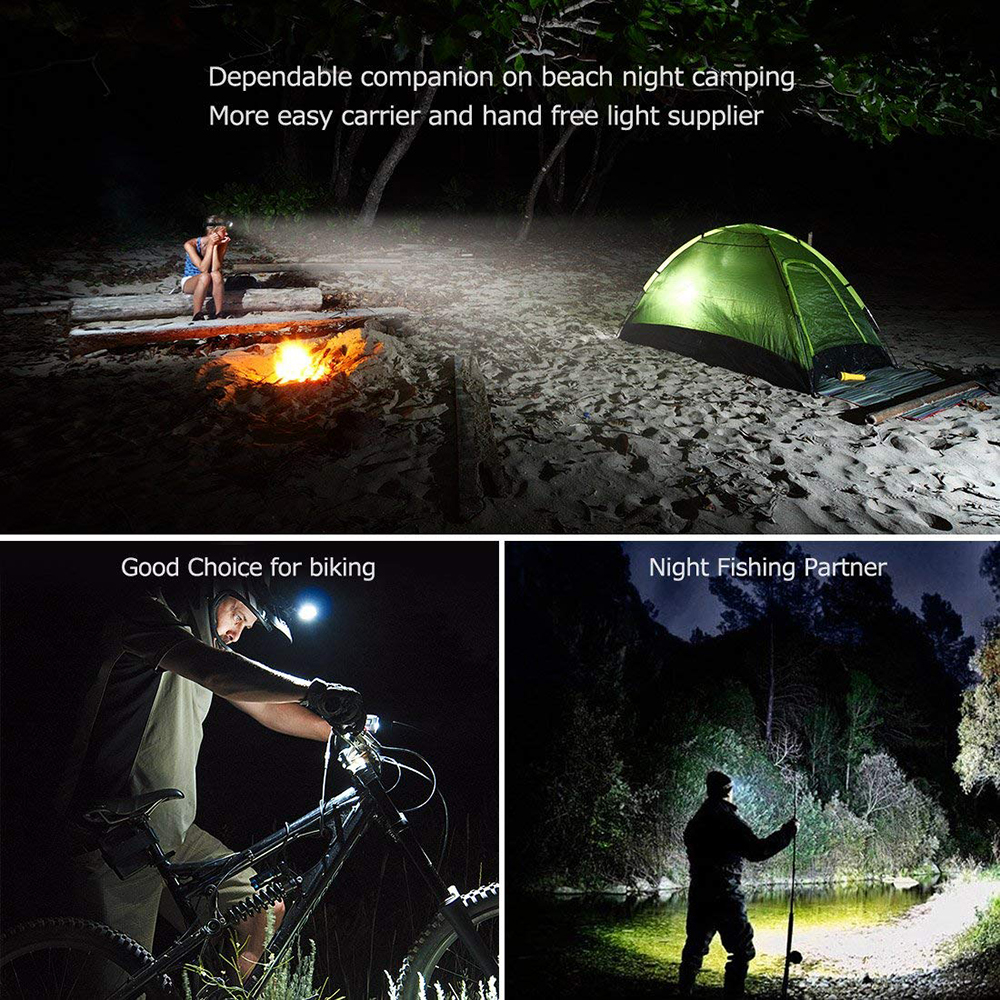 Купить с кэшбэком LED Headlamp 5*T6 Headlight 4mode Torch Head Lamp flashlight for fishing camping Light+2*18650 Battery+AC/DC Charger+BOX