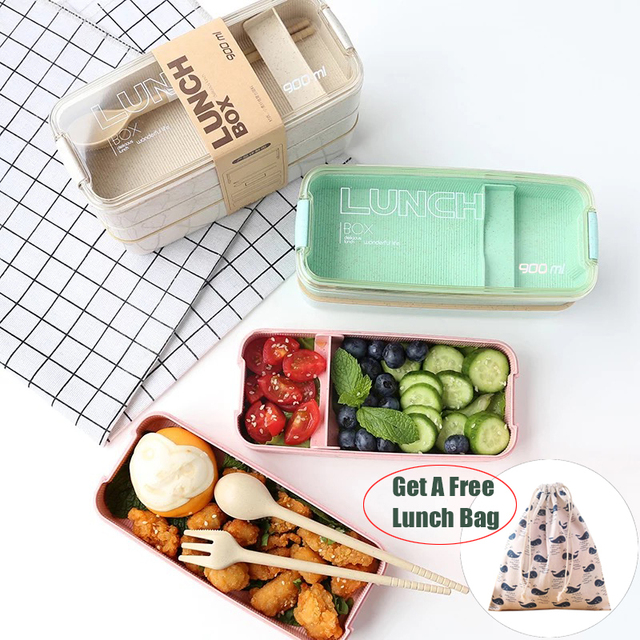 900 ミリリットルポータブル健康素材ボックス 3 層小麦わら弁当箱電子レンジ食器食品保存容器 Foodbox