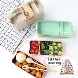 900ml Portable Healthy Material Lunch Box 3 Layer Wheat Straw Bento Boxes Microwave Dinnerware Food Storage Container Food Box