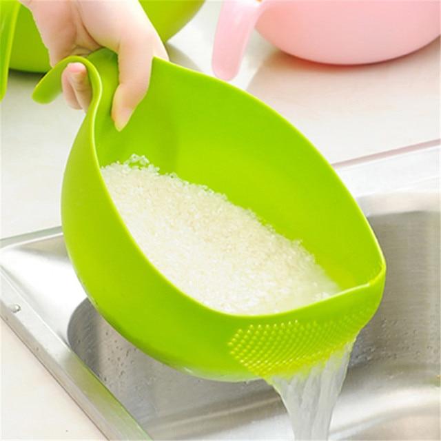 Cozinha tigela de arroz tigela de frutas de plástico grosso dreno cesta com alça de lavagem cesta para casa suprimentos cozinha alta qualidade