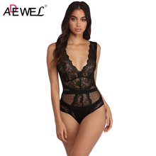 ADEWEL Sexy Women Bodysuits Solid Red Black V Neck Lace Mesh Bodysuit Sleeveless Slim Fit Jumpsuit Top Feminino Stretchy Rompers