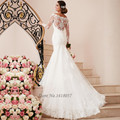Платье-де-noiva де Renda Vintage Свадебные Платья С Длинным Рукавом Платье Невесты Кружева Русалка Свадебные Платья Scoop Кнопки Alibaba Китай