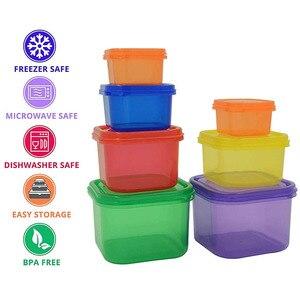 Image 2 - Caja de plástico 7 unids/set fiambrera Multi Color porción recipiente de control Kit BPA tapas libres etiquetadas Bento caja de almacenamiento de alimentos contiene