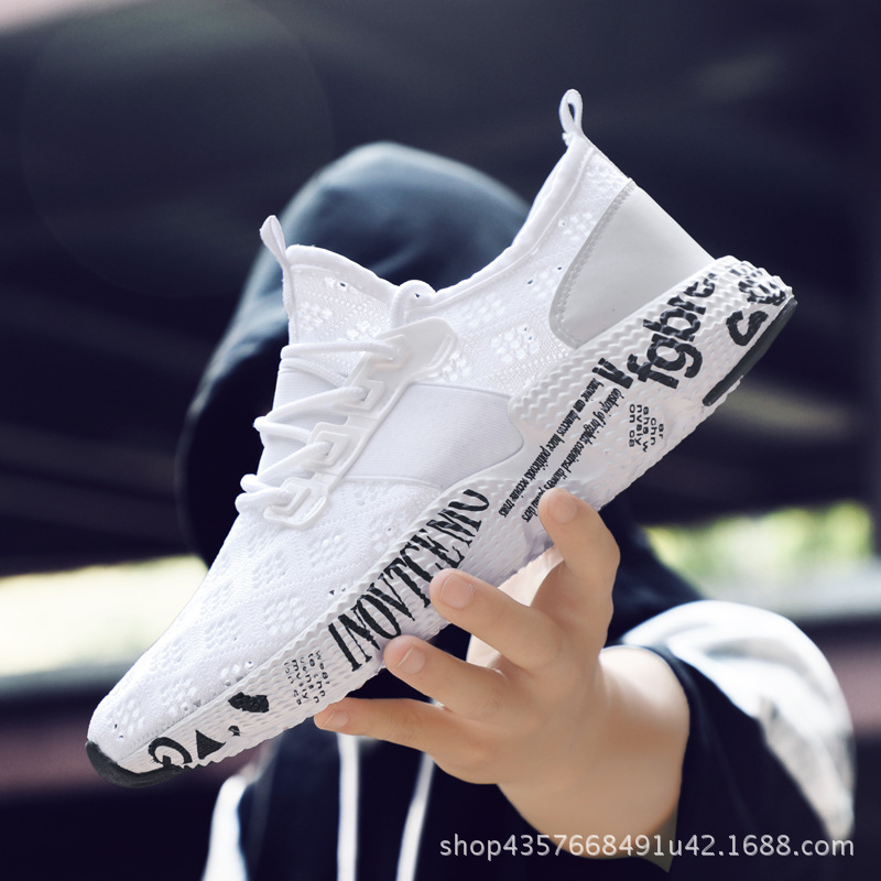 Large size men 39 s knit mesh breathable shoes wear resistant non slip running shoes lightweight sports shoes men in Men 39 s Casual Shoes from Shoes