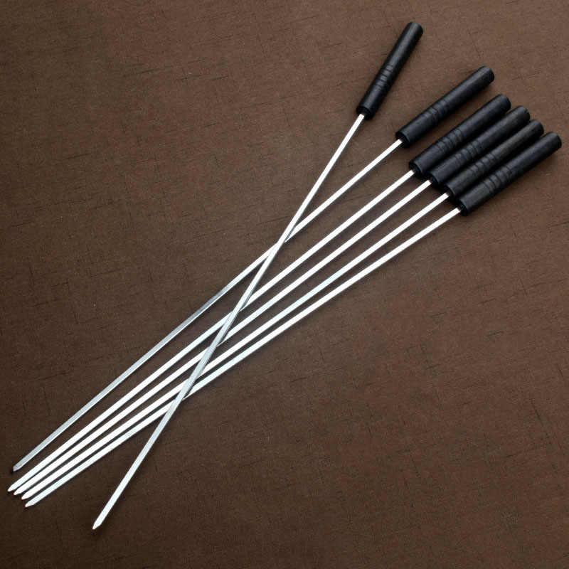 47cm 18.5 barbecue barbecue metal churrasco preto madeira lidar com espetos para churrasco espetos de churrasco plana agulha vara piquenique ao ar livre churrasco acessórios 6/10pc