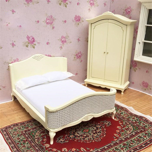 Superieur Doub K 1:12 Wooden Dollhouse Miniature Furniture Toy Yellow Kawaii  Simulation Bed Bedroom Pretend