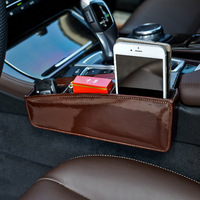 Customize Car Seat Pocket Leather Key Phone Cigarette Holder Organizers Auto Seats Crevice Storage Box For