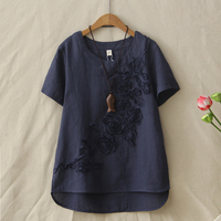 Summer New Cotton And Linen T Shirt Female Short Sleeved Fashion Flower Embroidery Tops Womens Tee