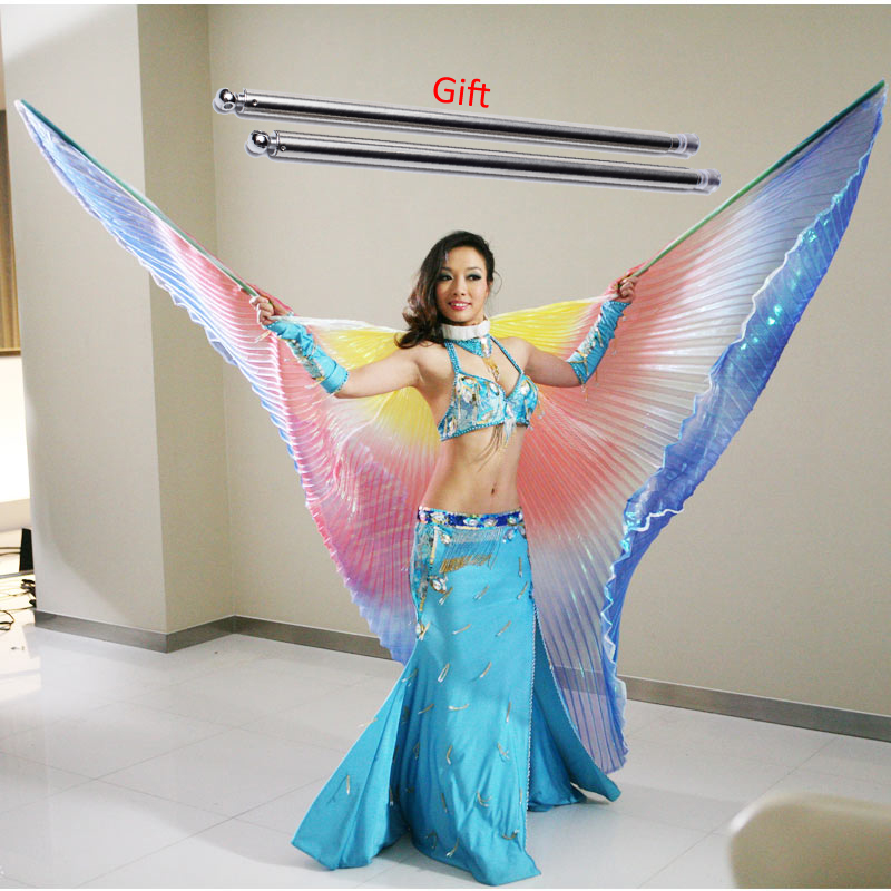 Belly Dance Isis Wings Belly Dance Accessory Wings Costume Oriental Bollywood Egyptian Egypt With Sticks Women Adult  Rainbow