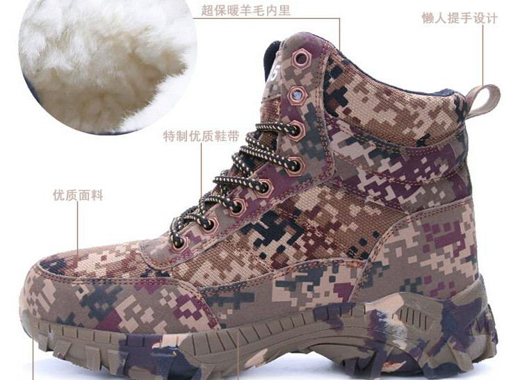 Men Combat Army Boots Winter Camouflage Warm Wool Shoes Mens Tactical Military Boots Size 39 46