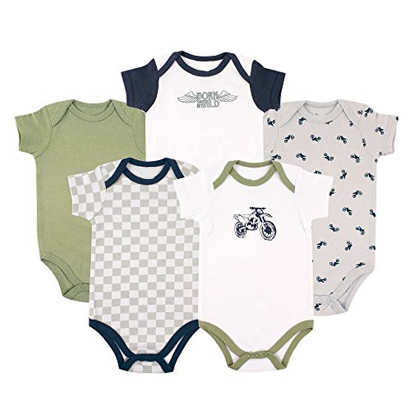 Baby Boys Girls Clothes Newborn Bebe Rompers Costume Short-sleeve Ropa De Bebe 100%cotton Clothing 5pcs/lot Unisex 0-9months cotton baby rompers set newborn clothes baby clothing boys girls cartoon jumpsuits long sleeve overalls coveralls autumn winter