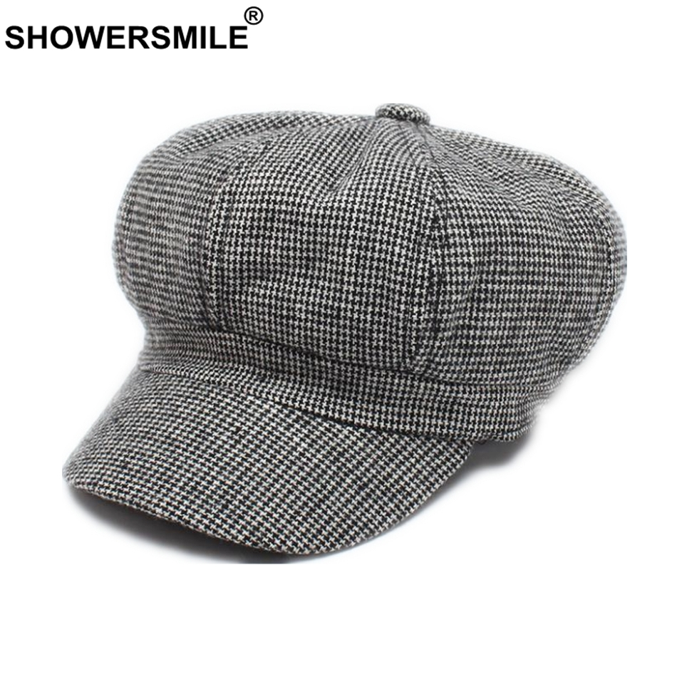 SHOWERSMILE Brand Women Octagonal Cap Female Woolen Newsboy Cap Black White Houndstooth British Plaid Painter Hat Ladies Beret
