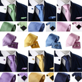 Nueva Moda 8 CM Caballero Sólidos Boda Negocios Gemelos Pañuelo Set Corbata Gravata corbatas Corbatas lazo de Los Hombres Corbata 11 COLORES