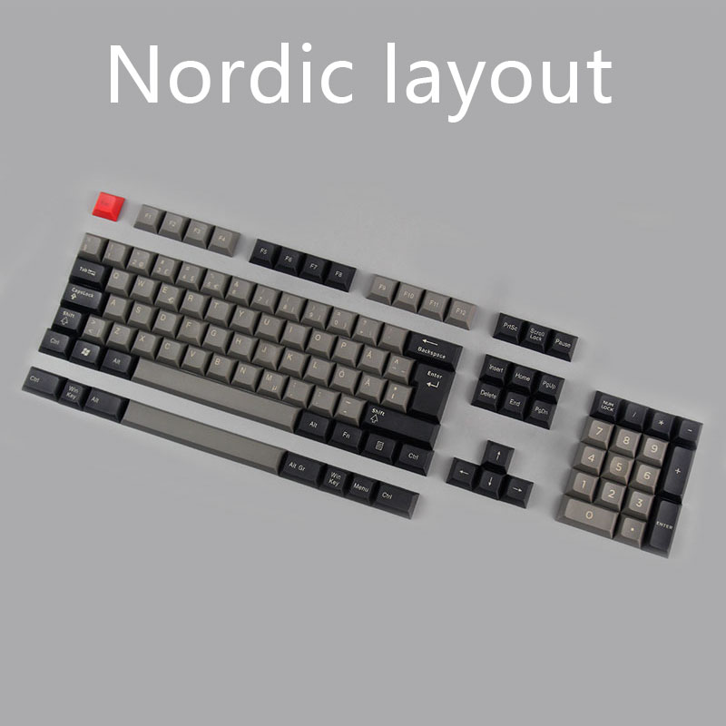 kbdfans new arrival top printed dsa pbt keycaps Nordic layout iso dsa profile for usb gaming mechanical keyboard kbdfans new arrival dsa keycap dye subbed pbt keycaps for mechanical keyboard