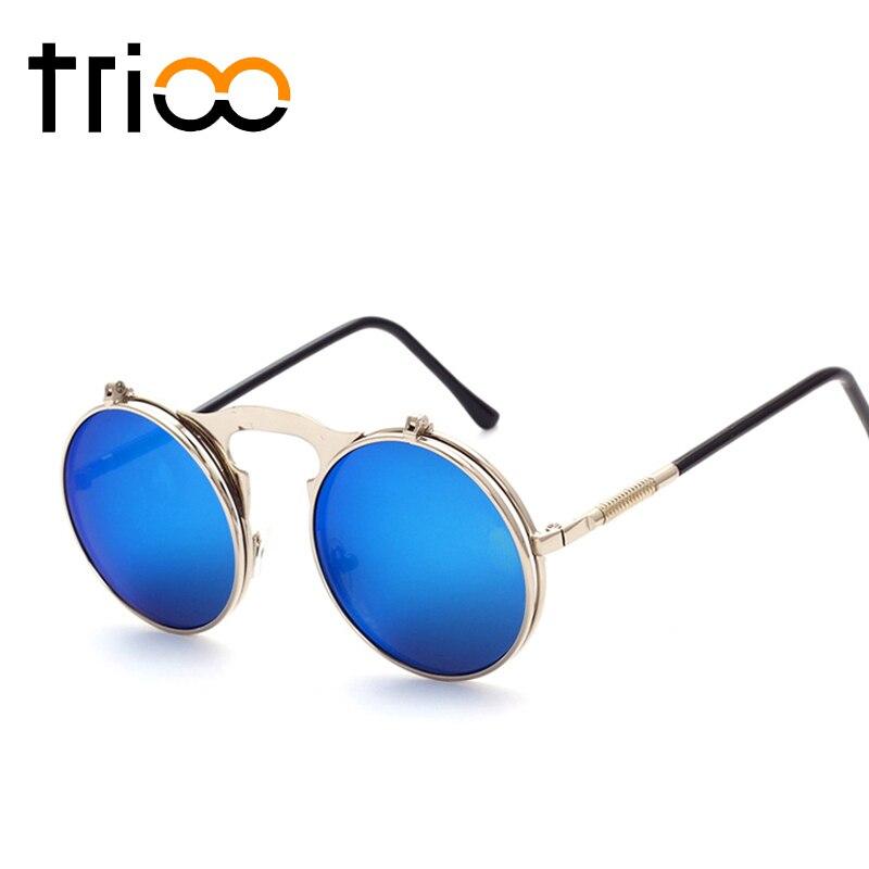 TRIOO Round Flip Up Sonnenbrille Männer Frauen Retro Steampunk ...