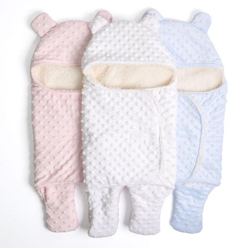 Детское одеяло кокон для сна, теплое Флисовое одеяло с капюшоном для новорожденных, мягкий спальный мешок конверт