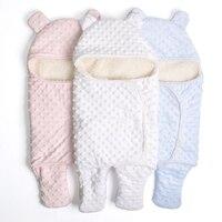 Casulo do bebê Swaddle Saco Envelope grosso saco de dormir de Inverno Recém-nascidos bolha Infantil com capuz de Lã Cama Cobertor Envoltório saco de Dormir