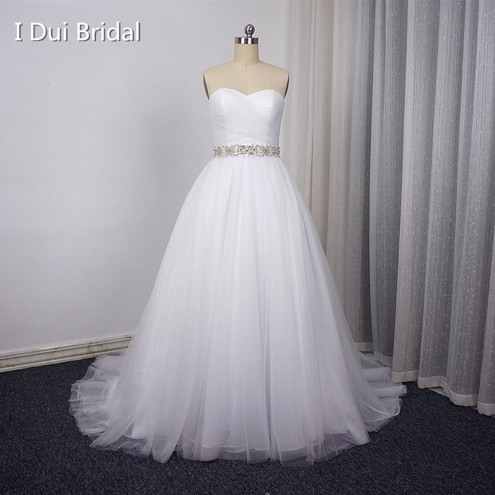 Poročne obleke s kroglicami Semi draga Elegantna s pasom iz nosoroga Real Photo
