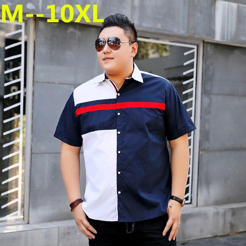 Plus Big Size 8XL 7XL 6XL 5XL-L MAX CHEST 150CM Mens Shirts Fashion 2018 New Spring Summer Short Sleeves Casual Solid Man Shirt