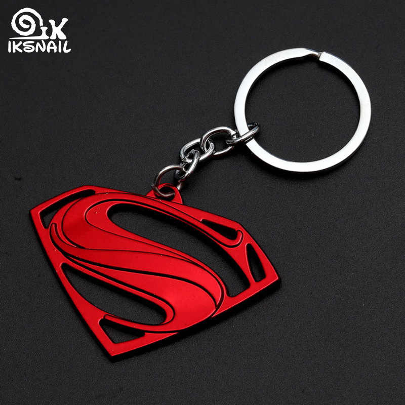 IKSNAIL Superman Keychains Creative Movie Surrounding Metal Keyring High Quality Super Hero Key Rings Car Waist Hang Accessories