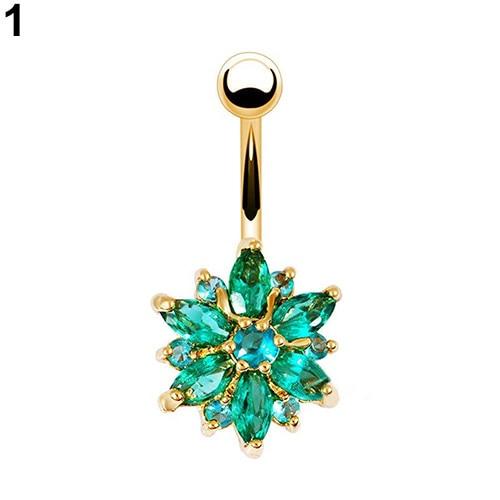 HTB1Oe3xPpXXXXXDaXXXq6xXFXXXw Women Body Piercing Jewelry Rhinestone Flower Belly Button Navel Ring - 8 Styles