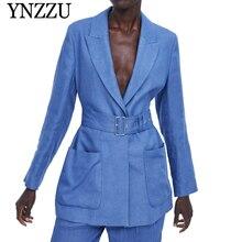 YNZZU Summer blue with belt blazer 2019 new arrivalTurn down collar loose women jacket Linen pocket office lady YO804