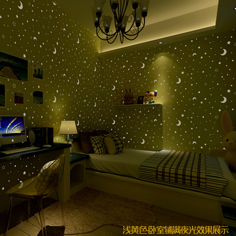 3d wall paper non woven children 39 s room luminous moon and the stars little boys and girls. Black Bedroom Furniture Sets. Home Design Ideas
