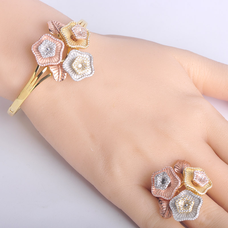Dazz New Arrival Gorgeous Flower Shape Bangle Ring Jewelry Sets Three Tones Color Copper Accessory For Women Banquet Party GiftDazz New Arrival Gorgeous Flower Shape Bangle Ring Jewelry Sets Three Tones Color Copper Accessory For Women Banquet Party Gift