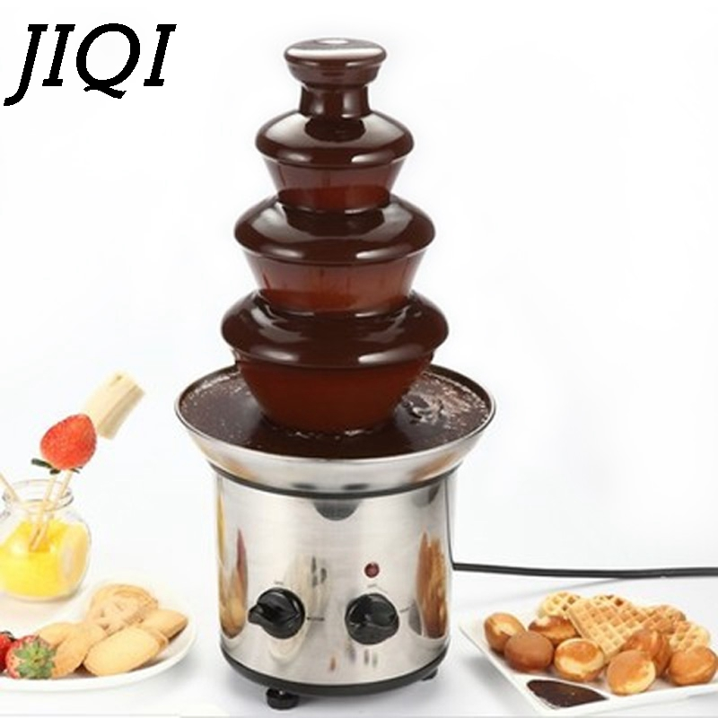 4 tiers layers Chocolate Fountains Fondue Wedding Children Birthday Home Christmas Melt Waterfall Machine party 110V 220V EU US image