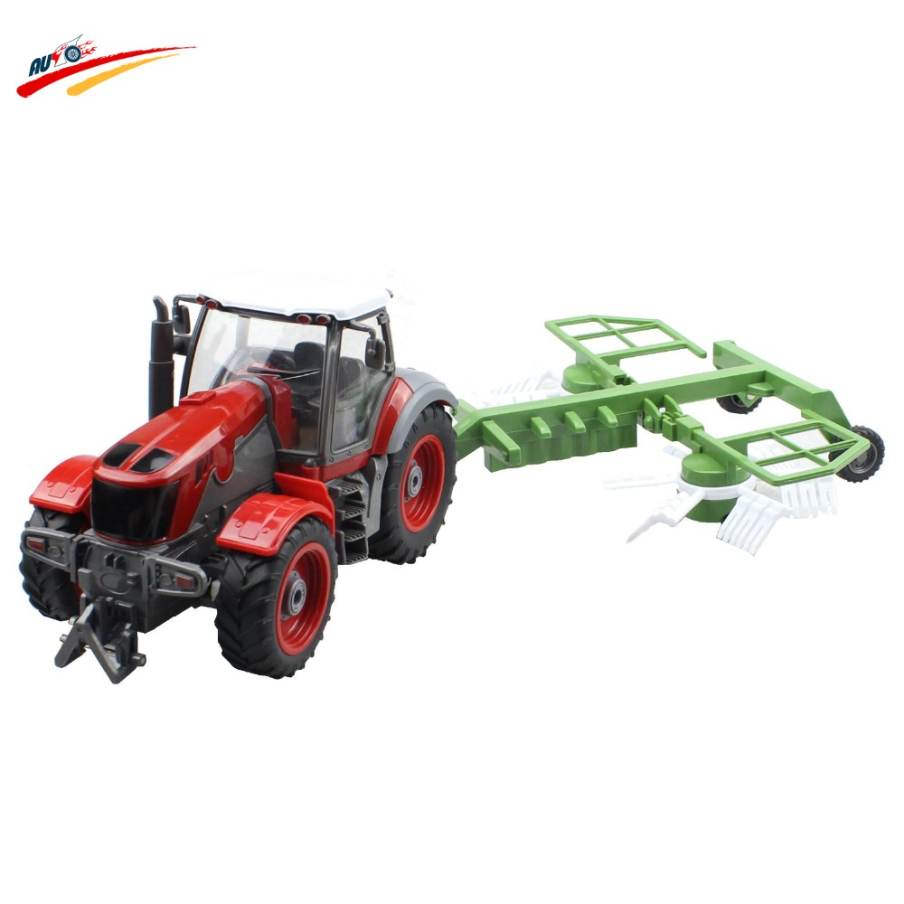 RC Truck 4 Channel Farm Tractor Plough Set Paratactic Double 5 Blade Rake Remote Control Farm Tractor With Plough Model Toy