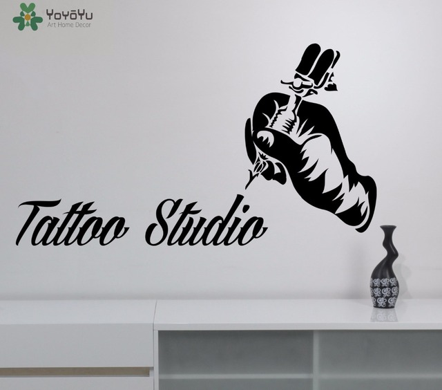 YOYOYU Tattoo Studio Vinyl Wall Stickers Tattoo Salon Logo Wall - Vinyl wall decals removable