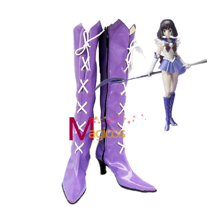 Anime Sailor Moon Sailor Saturn Cosplay Party Shoes Purple Fancy Boots Custom-made