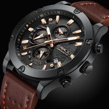 CRRJU Fashion Watch Men New Design Chronograph Big Face Quartz Wristwatches Mens Outdoor Sports Leather Watches orologio uomo