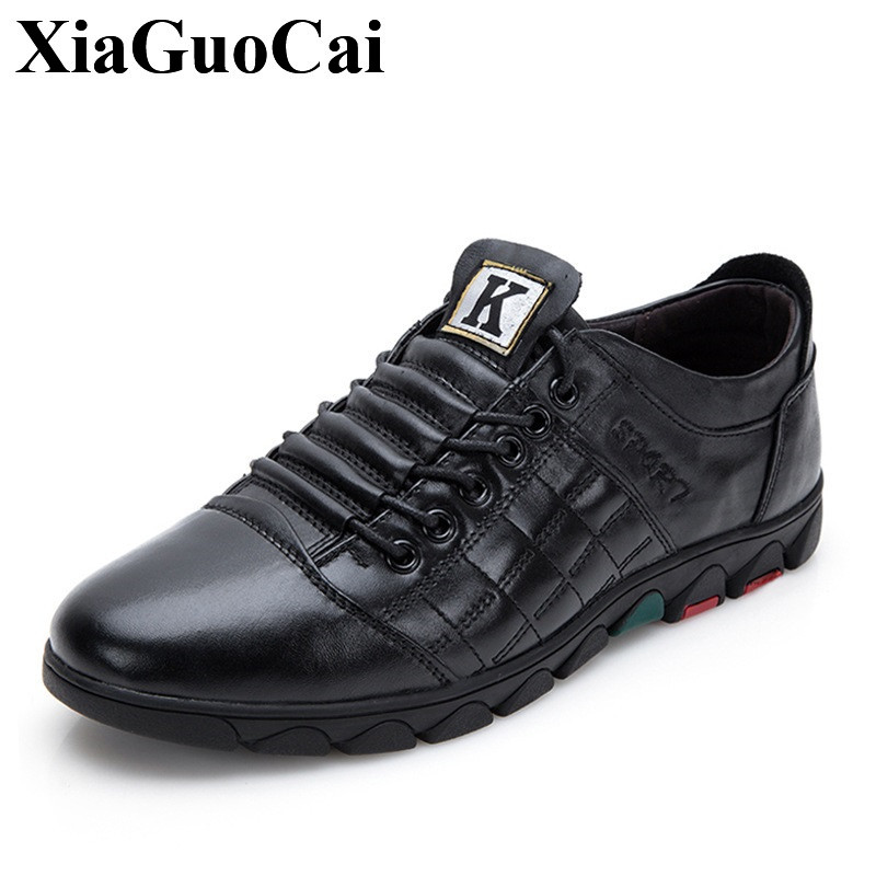 XiaGuoCai New Arrival Genuine Leather Shoes Men Fashion Casual Shoes Lace-up Wear-resistant Non-slip Soft Men Flat Shoes H601 new arrival 2015 men fashion casual suede flats shoes soft lace up non slip moccasin male tos hombre size 41 44