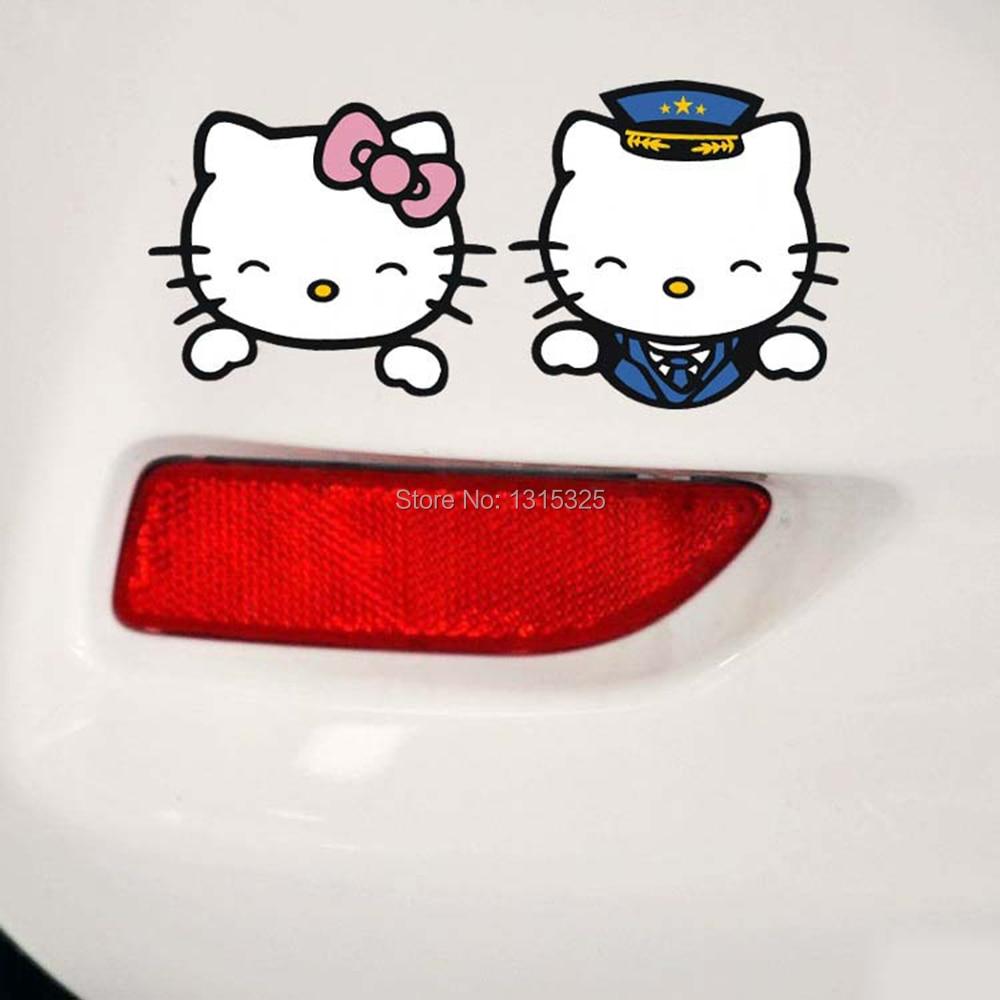 Aliauto A Pair of Funny Lover Hello Kitty Car Stickers Decal for Toyota Chevrolet cruze Volkswagen skoda Tesla Hyundai Kia Lada