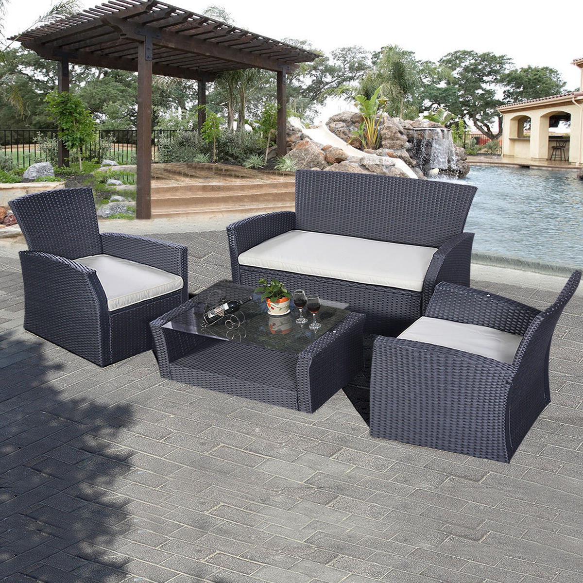Giantex 4PCS Outdoor Patio Furniture Set Modern Wicker Garden Lawn Rattan Sofa Chairs Table Set HW50328+