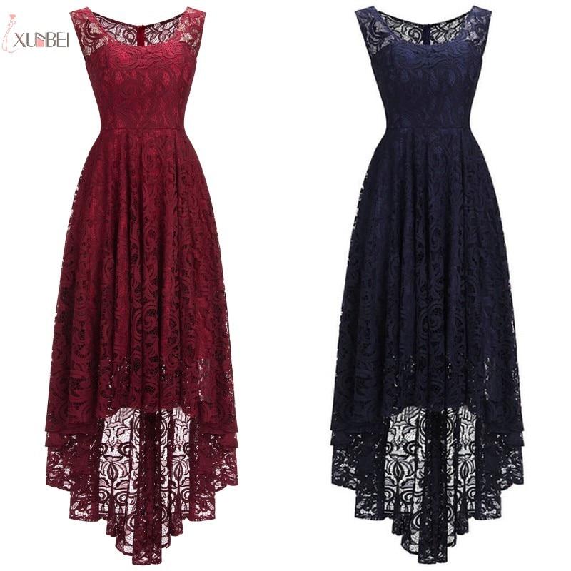2019 Burgundy Pink Navy Blue Lace Short Bridesmaid Dresses Sleeveless Wedding Guest Party Gown Robe Demoiselle D'honneur