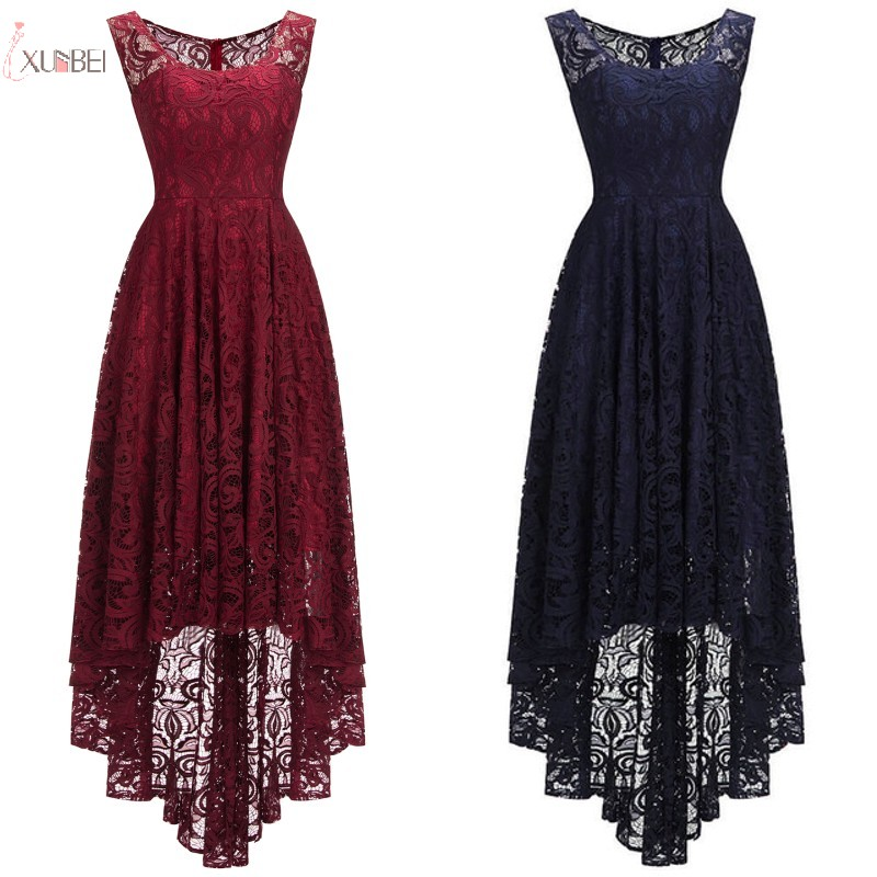 2019 Burgundy Pink Navy Blue Lace Short   Bridesmaid     Dresses   Sleeveless Wedding Guest Party Gown robe demoiselle d'honneur