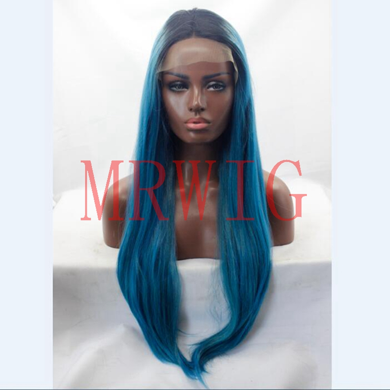 MRWIG 26in Long Straight Hair Black Ombre Mixed Blue Color Black Root Heat Resistant Middle Part Glueless Front Lace Wig