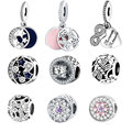 Fit Pandora Charm Bracelet Original 925 Silver Charms Bead  Daisy Openwork Charm With Clear Zircon Jewelry Berloque 2016 Winter
