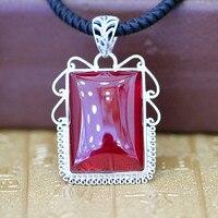Характер серебра S925 серебряные украшения модные элегантные дамские красный корунд кулон