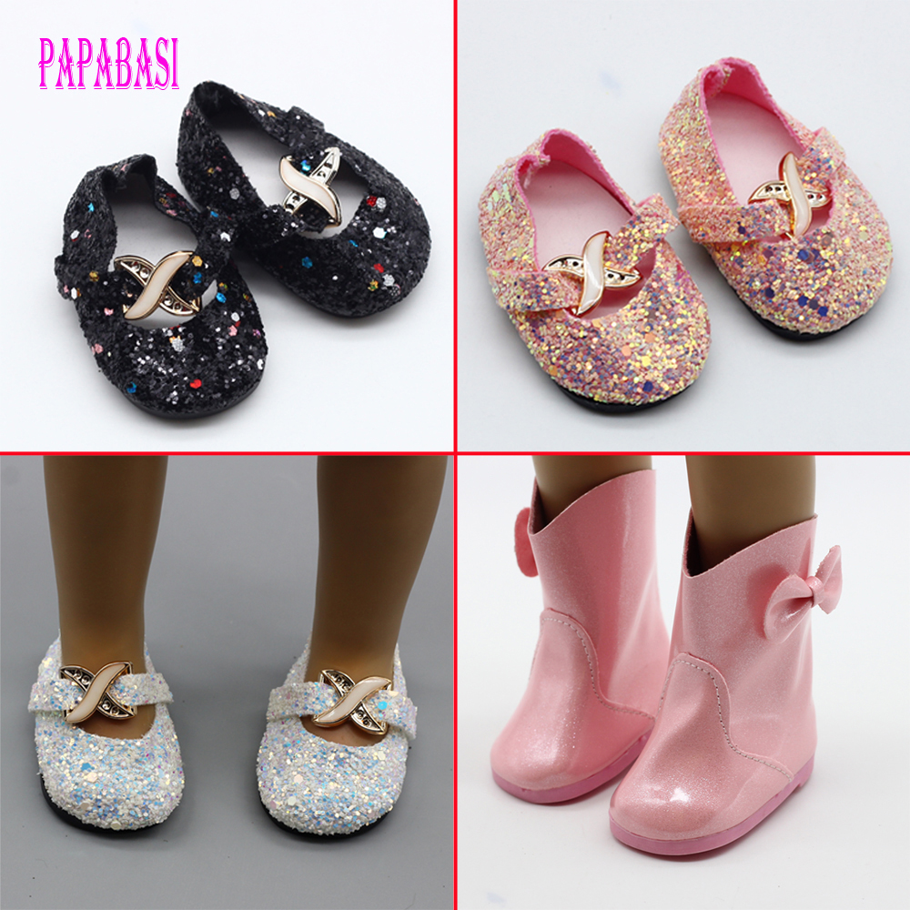 """BowUniversal Pink Red shiny Boots Shoes for American Girl 18"""" Doll Clothing Accessories Collectible Dolls Lover Girls Kids Gift"""