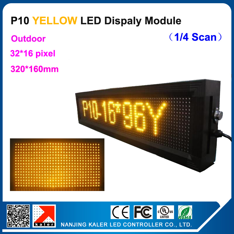 25x105cm Led Sign P10 Yellow Color Led Display 9.8'x 41'' P10 Yellow Led Sign Outdoor More Bright