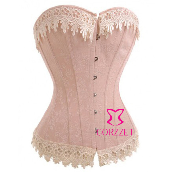 Classic Pinkish Lace Trim Cotton Gothic Bustier Corset Women Corselet Overbust Sexy Bustiers and Corsets