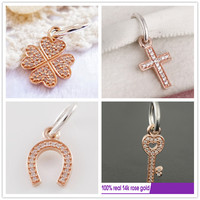 Silver 14k Rose Gold Symbol Of Luck Faith Trust Charms Beads Fit 925 Sterling Silver Bracelets